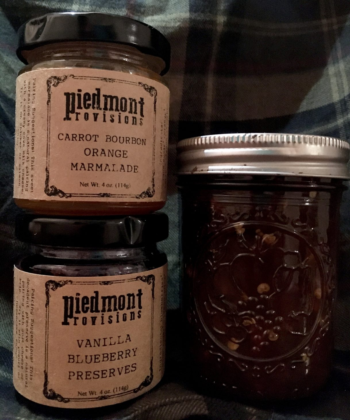 Midnight Snack: Trader Joe's Seeded Bread with Piedmont Provisions Carrot Bourbon Orange Marmalade and Vanilla Blueberry Preserves – Athens, Georgia – 06/12/2020