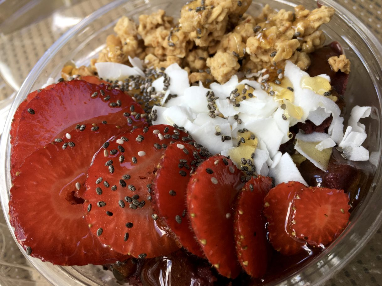 Strawberry Acai Bowl and a Front Porch Cold Brew from Poet's South – Cookeville, Tennessee – 06/15/2020