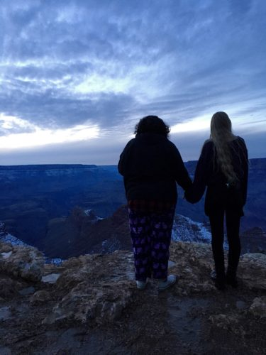 Homeschoolers homeschooling family travel adventure things to do with kids teens grand canyon village arizona az national parks nps snowy sunset sisters siblings love spread kindness desert view watchtower grand canyon sunset spgfan smiles per gallon