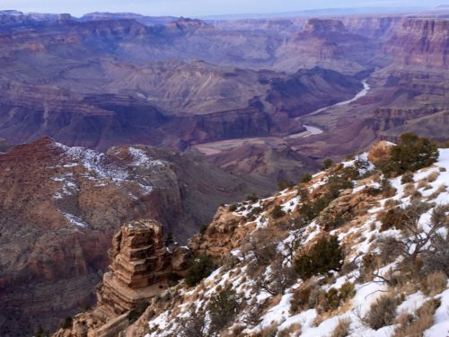Homeschoolers homeschooling family travel adventure things to do with kids teens grand canyon village arizona az national parks nps snowy sunset desert view watchtower grand canyon sunset spgfan smiles per gallon