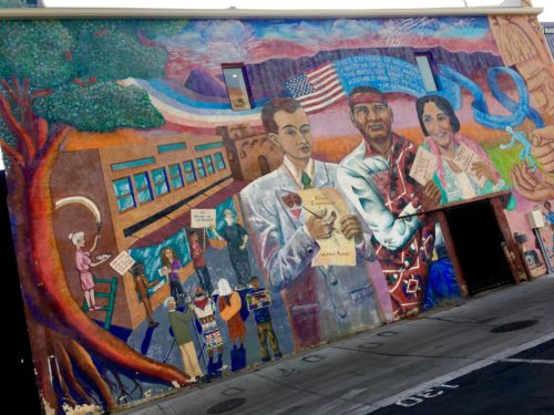 Homeschoolers homeschooling family travel adventure things to do with kids teens albuquerque new mexico nm history culture downtown historic route 66 mother road street art murals buildings spgfan smiles per gallon murosABQ los muros de burque