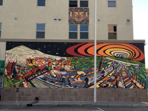Homeschoolers homeschooling family travel adventure things to do with kids teens albuquerque new mexico nm history culture downtown Los Muros De Burque The Fall of the Ten Suns Jessica Angel Imperial Building street art murals spgfan smiles per gallon