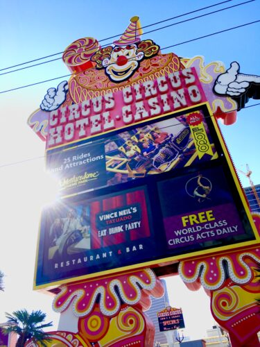 Homeschoolers homeschooling family travel adventure things to do with kids teens las vegas nevada nv hotels resorts casinos circus circus nostalgic neon lights neon signs vegas baby vegas with kids spgfan smiles per gallon