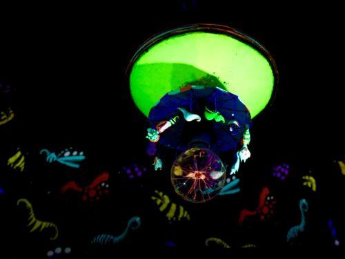Homeschoolers homeschooling family travel adventure things to do with kids teens las vegas nevada nv the neon museum boneyard tim burton exhibit brilliant mars attacks robot boy slot machine nostalgic neon signs lights vegas history iconic entertainment las vegas boulevard vegas with kids spgfan smiles per gallon