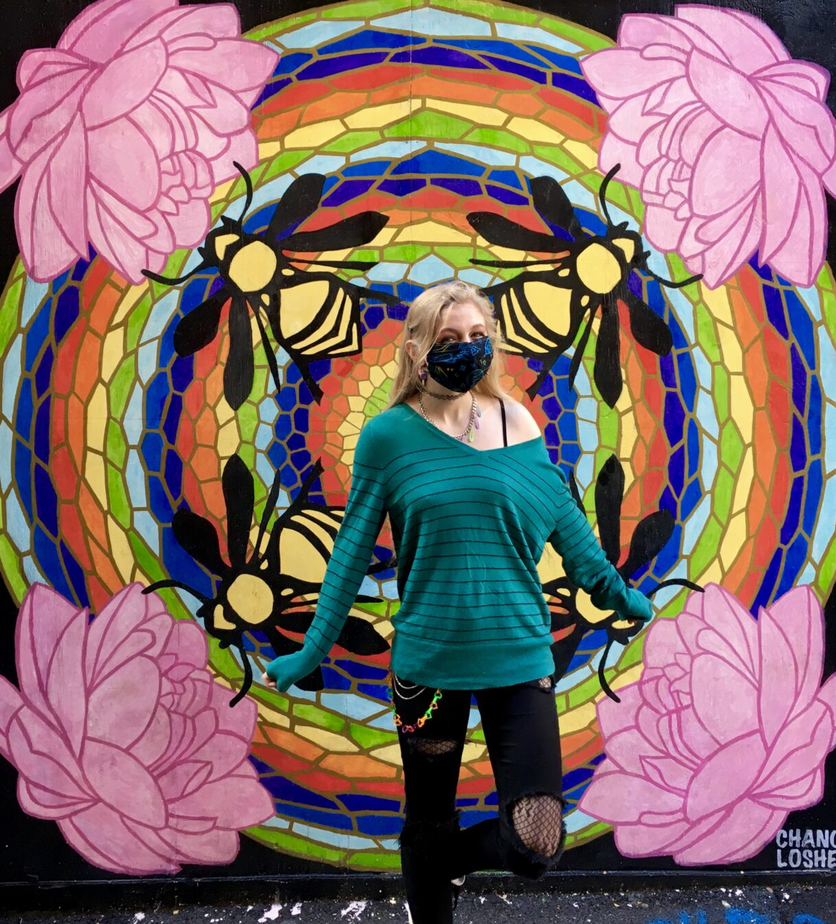 Save the Bees Rainbow Mandala by Chance Losher aka Professor Rainbow – Strong Alley – Knoxville, Tennessee – 10/29/2020