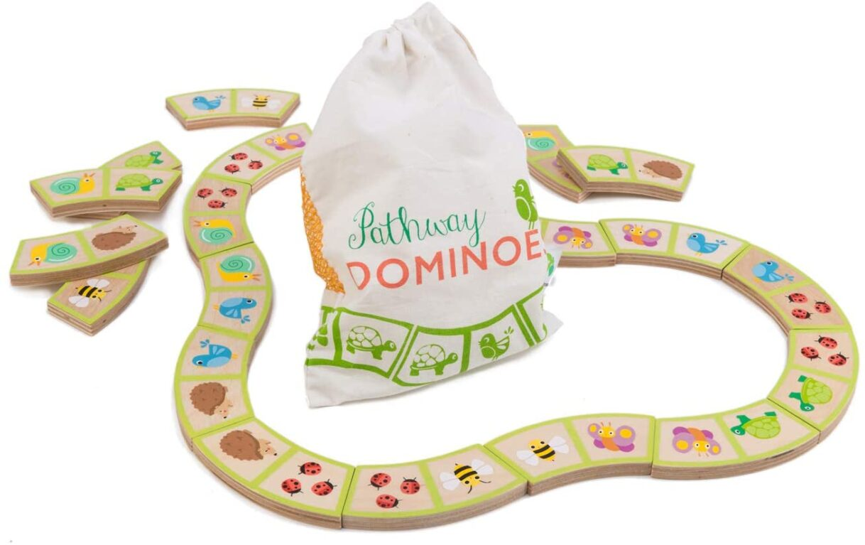 Life's a Garden Dig It: Tender Leaf Toys Garden Path Dominoes – Traditional Wooden Tile Game