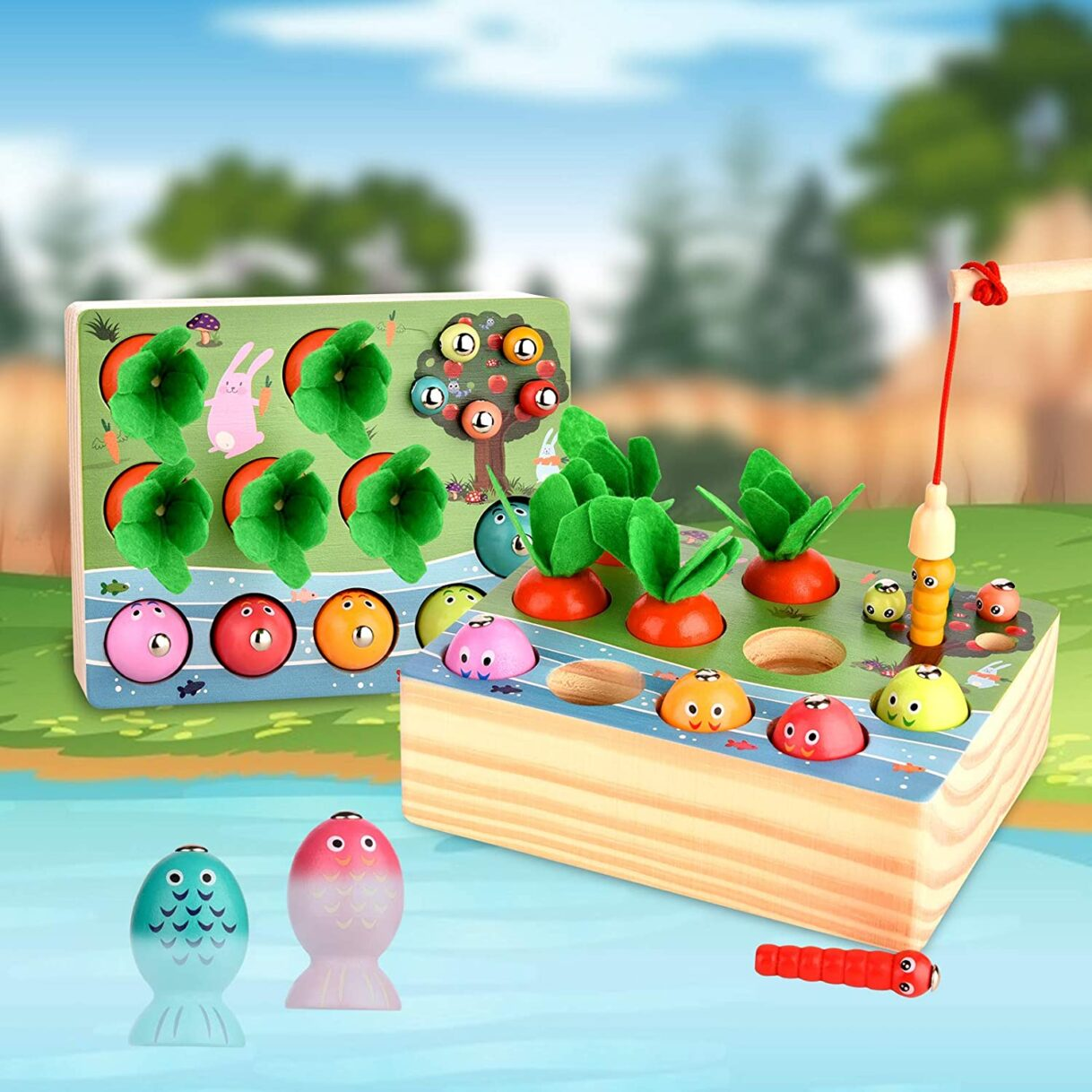 Life's a Garden Dig It: Magnetic Carrot Harvesting, Worm Digging, and Fishing Game