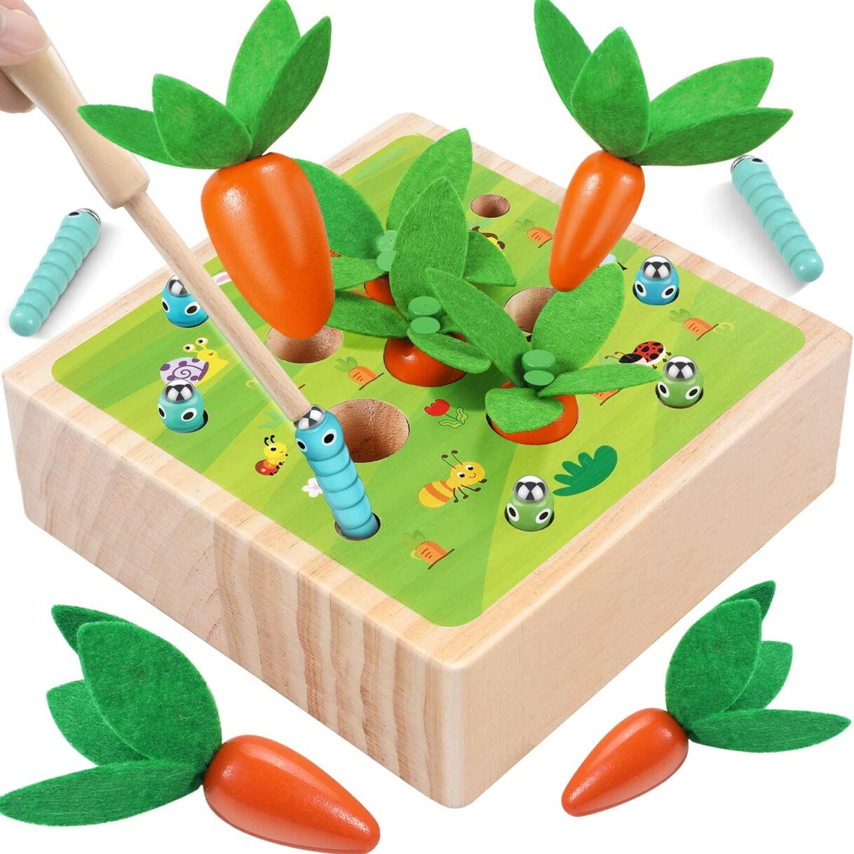 Smart Gifts: Carrot Harvesting and Worm Digging Wooden Magnetic Matching Puzzle