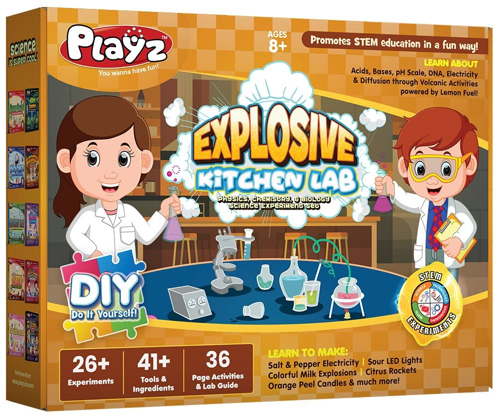 Kitchen Science: Playz Explosive Kitchen Lab 26+ Physics, Chemistry & Biology Science Experiments Set