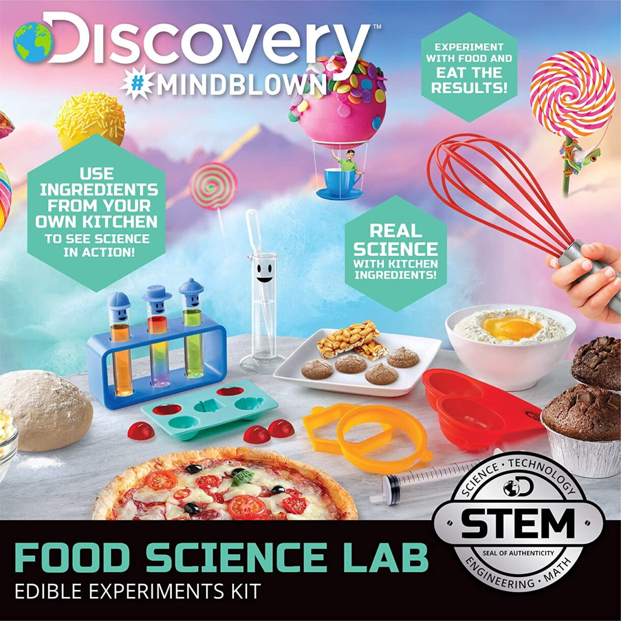 Kitchen Science: Discovery #MINDBLOWN Food Science Kit, Lab Experiments with Edible Results, Real Kitchen Ingredients with 22 Tools Included