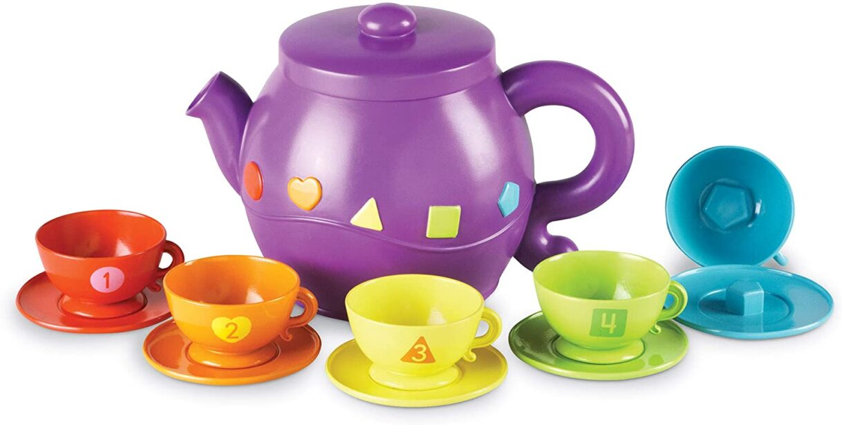Tea Party Hard: Learning Resources Serving Shapes Tea Set – Color Recognition and Counting Toy 11 Pieces
