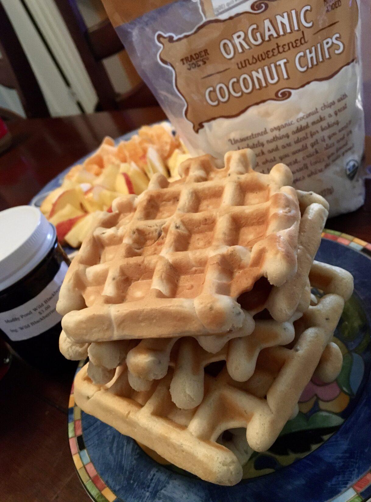 Homemade Vegan Waffles with Cranberry Syrup, Blackberry Jam, and Fruit – Athens, Georgia 12/21/2020