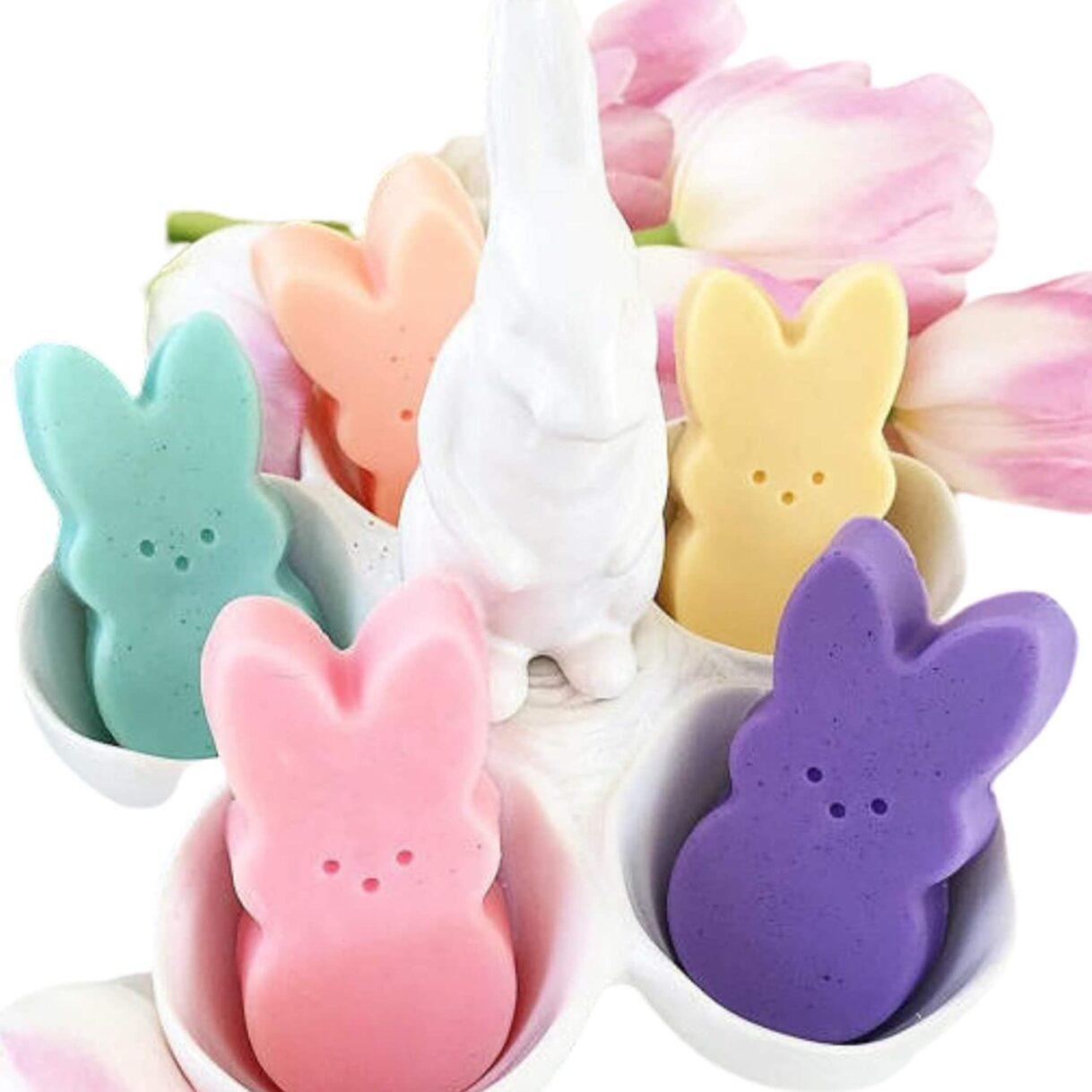 Peep Style Pastel Bunny Glycerin Soap 4 Pack by Sunbasil Soaps – Great for Easter Baskets!