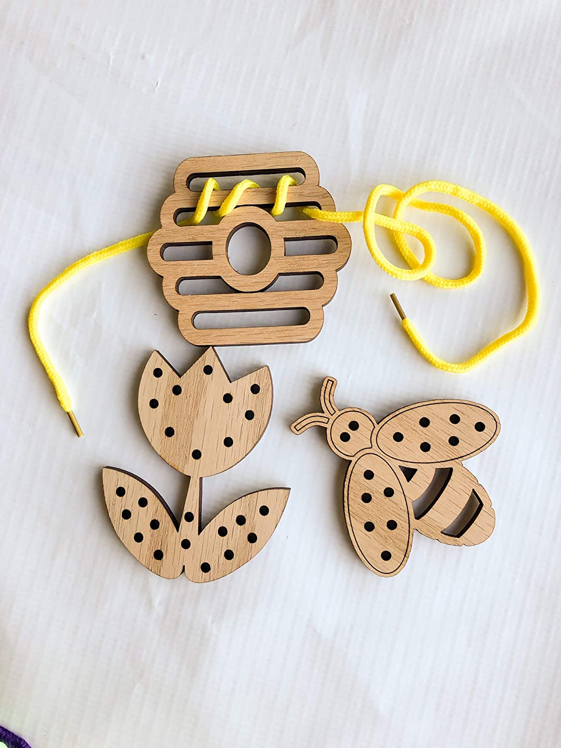 Wooden Bumble Bee, Flower, and Hive Lacing Toy Set by A Vision to Remember