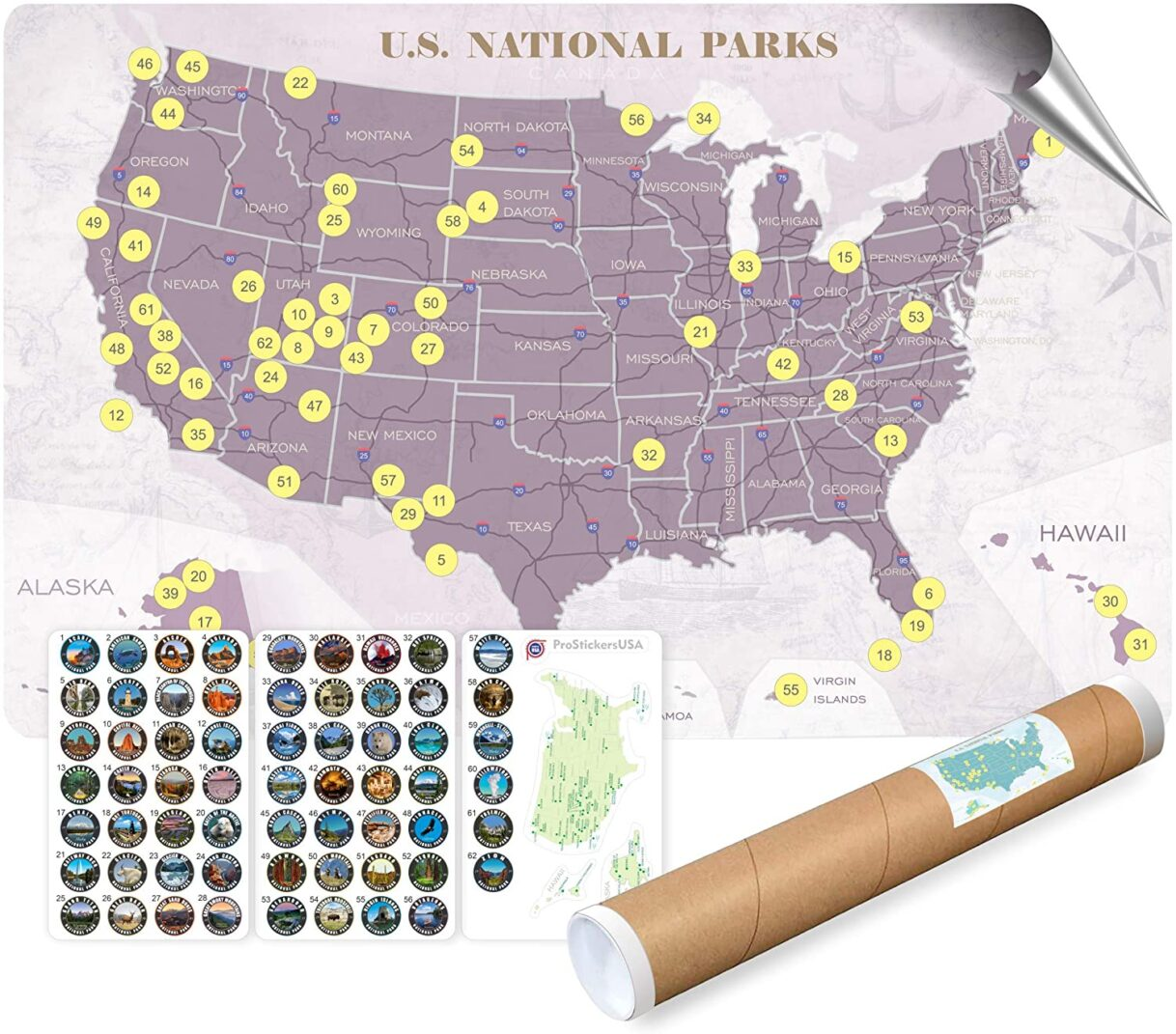 Collection of 63 Stickers Set – All US National Parks and Large Size Map of U.S. National Parks – 17 x 27 inch with Gift Tube Box