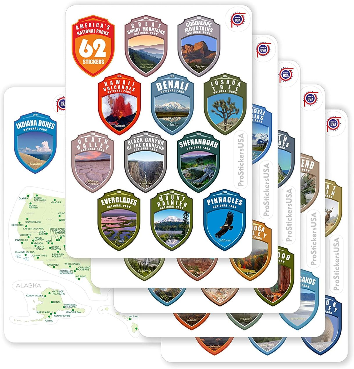 1.4 x 2.0″ Shields Collection Sticker Set – 62 National Parks USA – Vibrant Colors Vinyl Stickers – Map of US National Parks