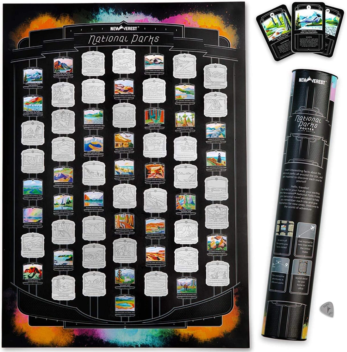 Newverest US National Parks Scratch-off Poster, Detailed National Parks Map with Hand-Painted Images, Fits 17 x 24 Inch Frames, Includes 62 Info Cards, Microfiber Cloth, Scratch Tool, and Gift Tube