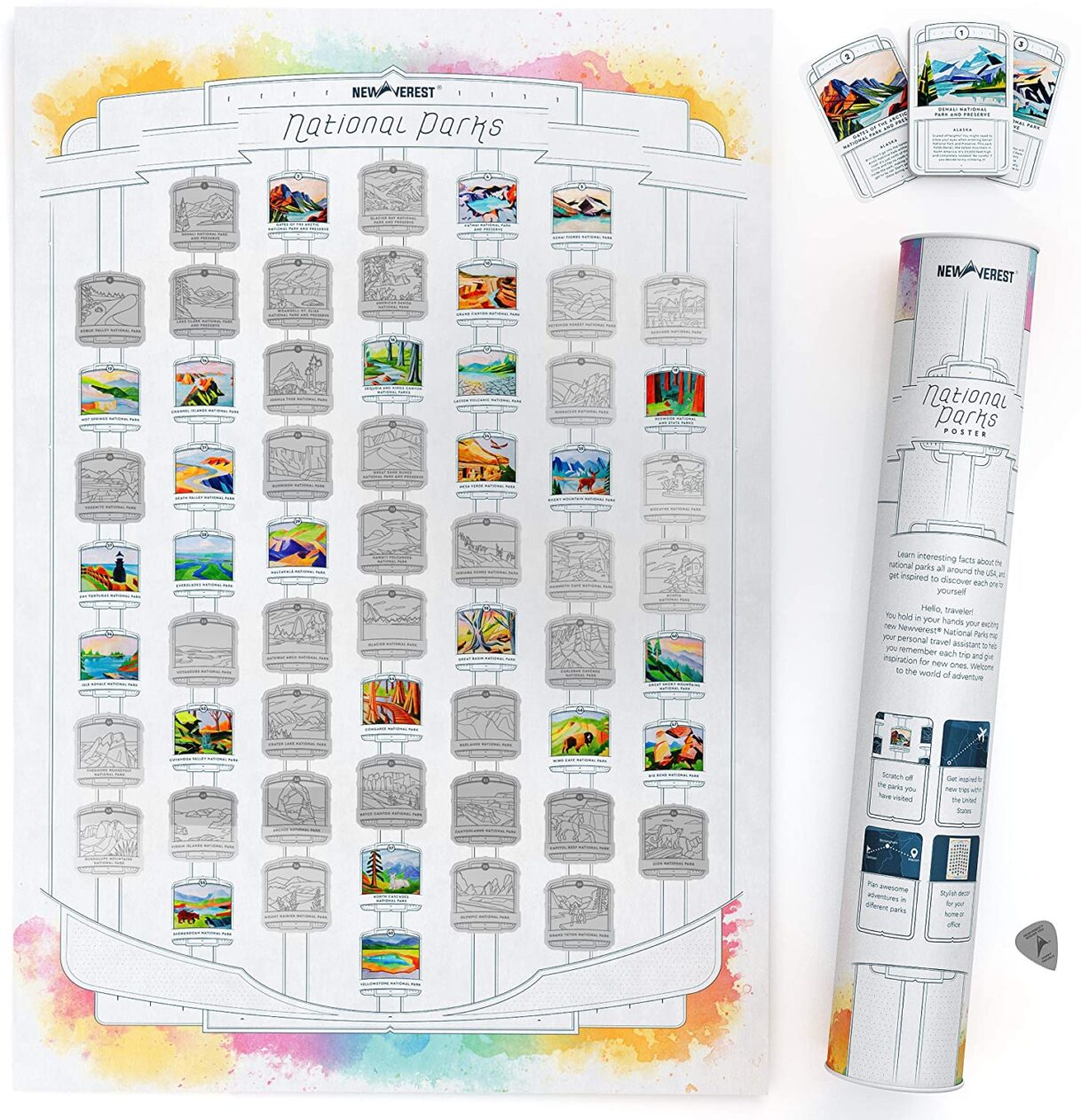 Newverest US National Parks White Scratch-off Poster, Detailed National Parks Map with Hand-Painted Images, Fits 17 x 24 Inch Frames, Includes 62 Info Cards, Microfiber Cloth, Scratch Tool, and Gift Tube
